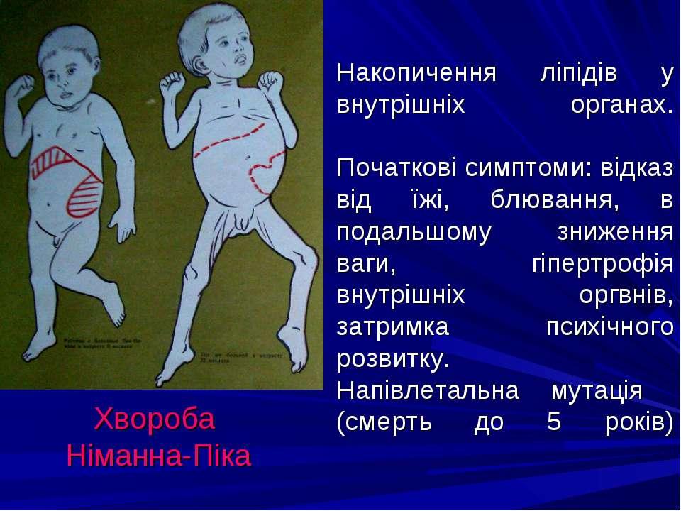 Накопичення ліпідів у внутрішніх органах. Початкові симптоми: відказ від їжі,...