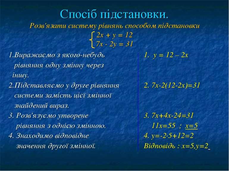 Спосіб підстановки. Розв'язати систему рівнянь способом підстановки 2х + у = ...