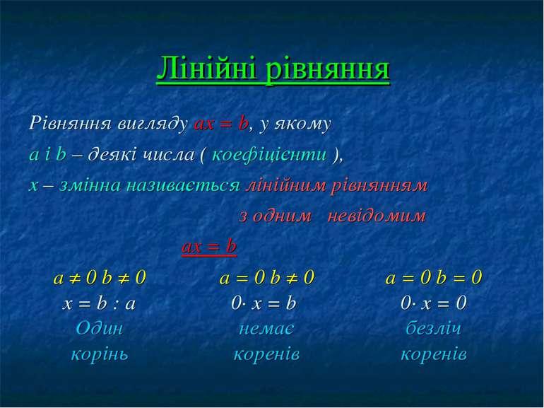Лінійні рівняння Рівняння вигляду ах = b, у якому а і b – деякі числа ( коефі...