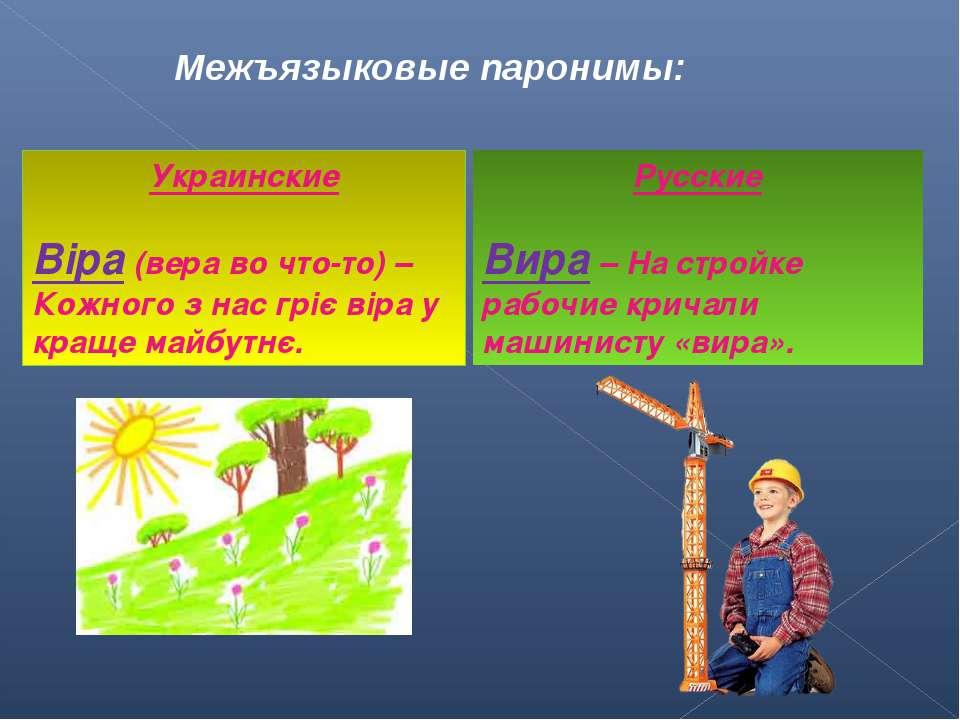 Межъязыковые паронимы: Украинские Віра (вера во что-то) – Кожного з нас гріє ...