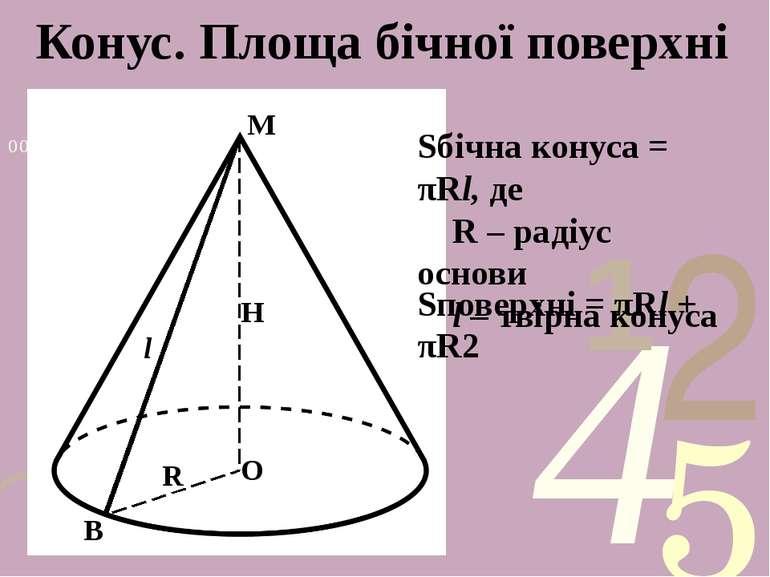 Конус. Площа бічної поверхні М О В Н R l Sбічна конуса = πRl, де R – радіус о...
