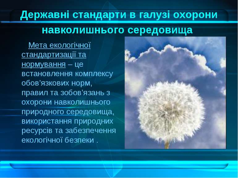 Державні стандарти в галузі охорони навколишнього середовища Мета екологічної...