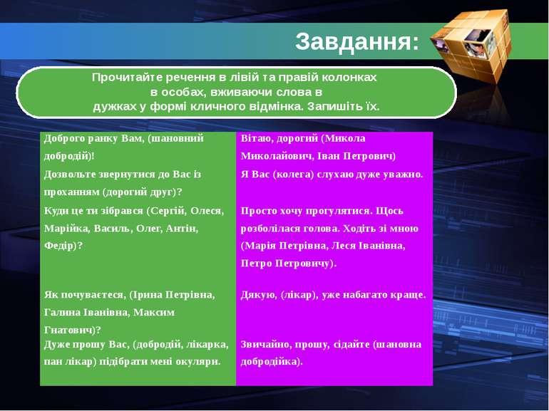 Завдання: Прочитайте речення в лівій та правій колонках в особах, вживаючи сл...