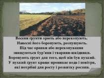 Восени ґрунти орють або перекопують. Навесні його боронують, розпушують. Під ...