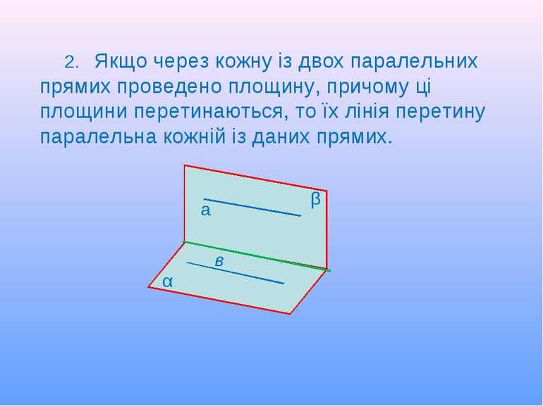 2. Якщо через кожну із двох паралельних прямих проведено площину, причому ці ...