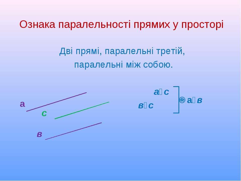 Ознака паралельності прямих у просторі Дві прямі, паралельні третій, паралель...