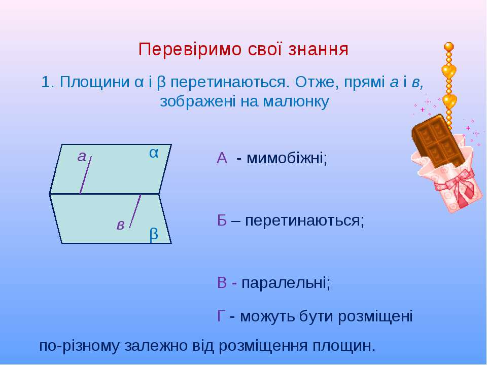 Перевіримо свої знання 1. Площини α і β перетинаються. Отже, прямі а і в, зоб...