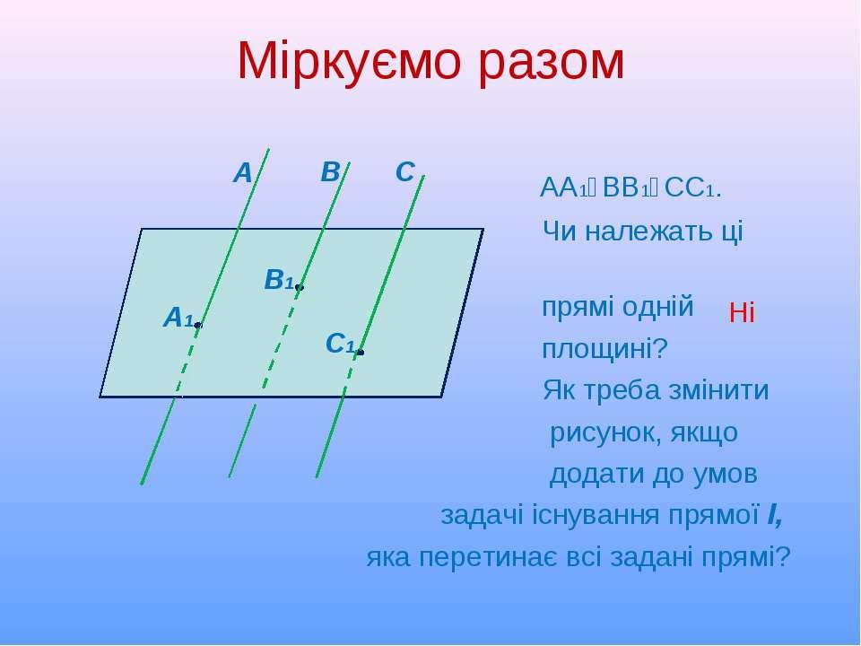 Міркуємо разом АА1‖ВВ1‖СС1. Чи належать ці прямі одній площині? Як треба змін...