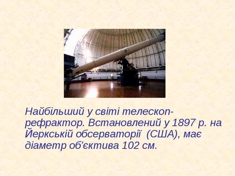 Найбільший у світі телескоп-рефрактор. Встановлений у 1897 р. на Йеркській об...