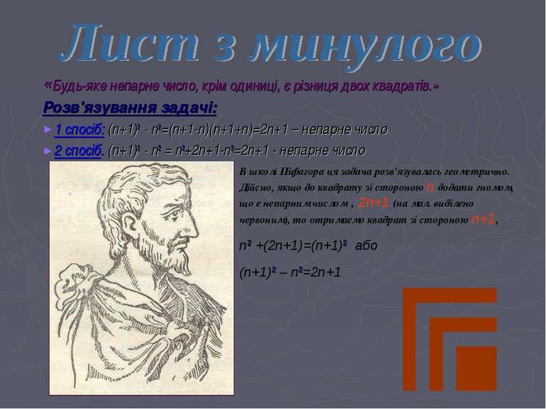«Будь-яке непарне число, крім одиниці, є різниця двох квадратів.» Розв'язуван...