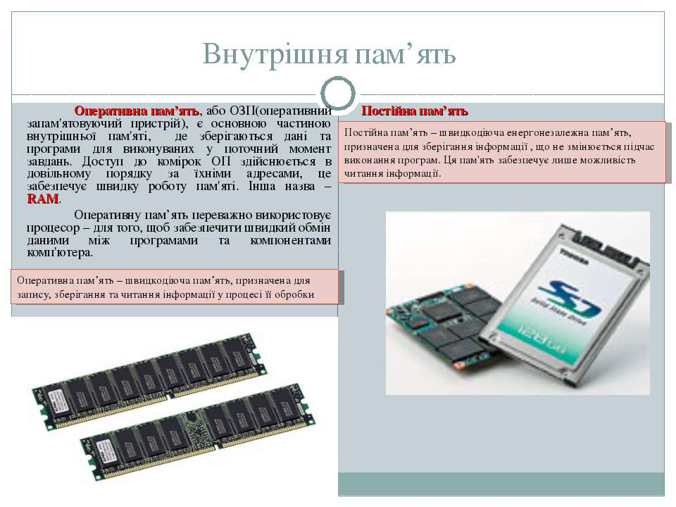 Внутрішня пам'ять Оперативна пам'ять, або ОЗП(оперативний запам'ятовуючий при...