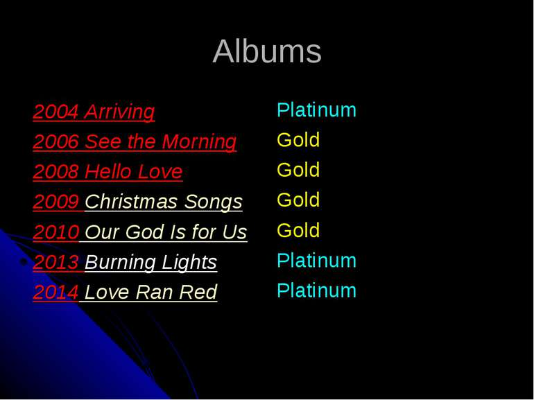 Albums 2004 Arriving 2006 See the Morning 2008 Hello Love 2009 Christmas Song...