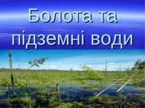 Болота та підземні води