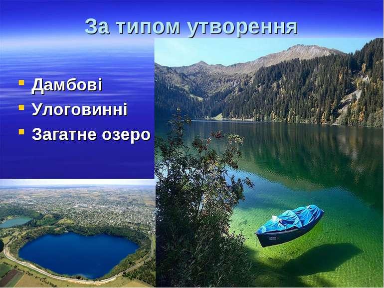 За типом утворення Дамбові Улоговинні Загатне озеро