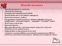 Методи навчання Методи практичного навчання; Методи дослідження; Різнорівневи...