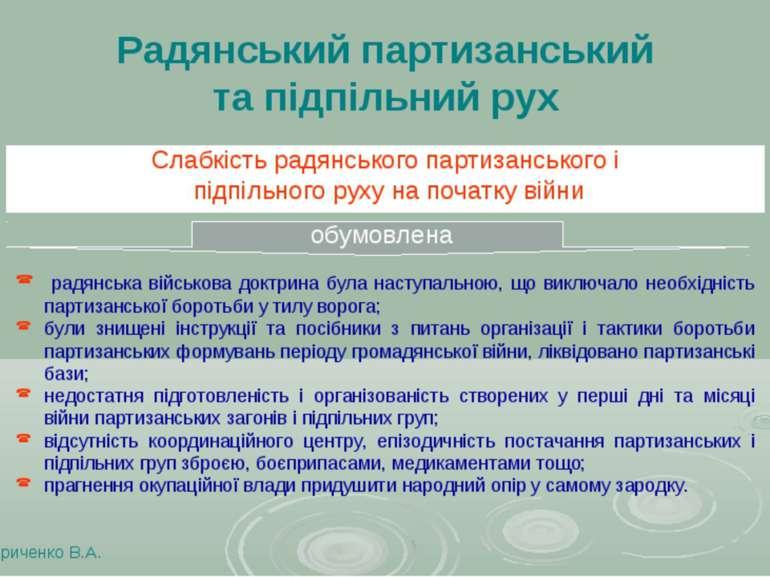 Радянський партизанський та підпільний рух Слабкість радянського партизансько...