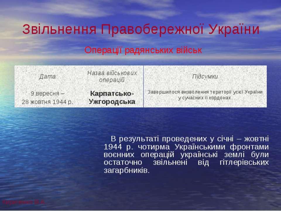 Звільнення Правобережної України В результаті проведених у січні – жовтні 194...
