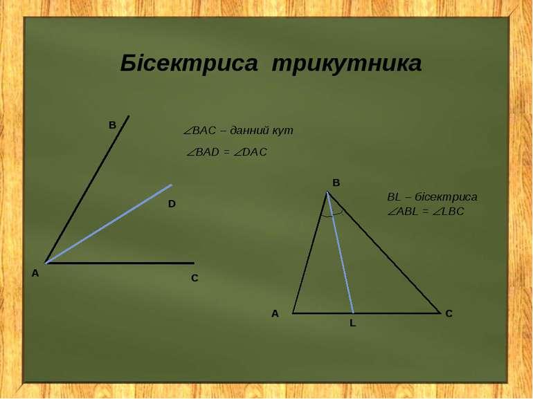 Бісектриса трикутника ВL – бісектриса АBL = LBС BAC – данний кут BAD = DAC