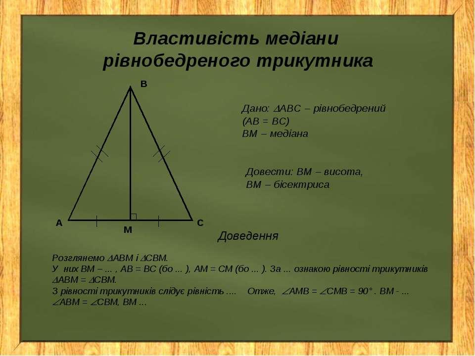 Властивість медіани рівнобедреного трикутника Дано: АВС – рівнобедрений (АВ =...