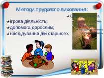 Методи трудового виховання: ігрова діяльність; допомога дорослим; наслідуванн...
