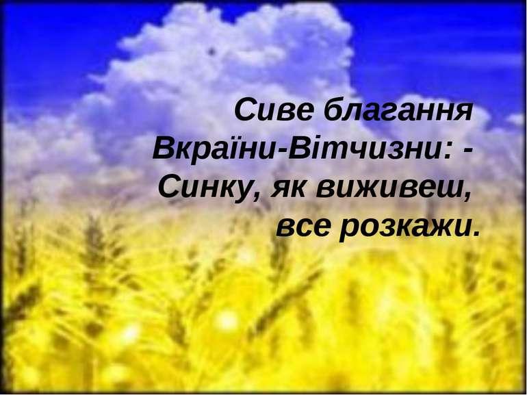 Сиве благання Вкраїни-Вітчизни: - Синку, як виживеш, все розкажи.
