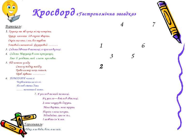 Кросворд «Гастрономічна загадка» Вертикаль: 1. Грушки та яблучка мілко потріт...