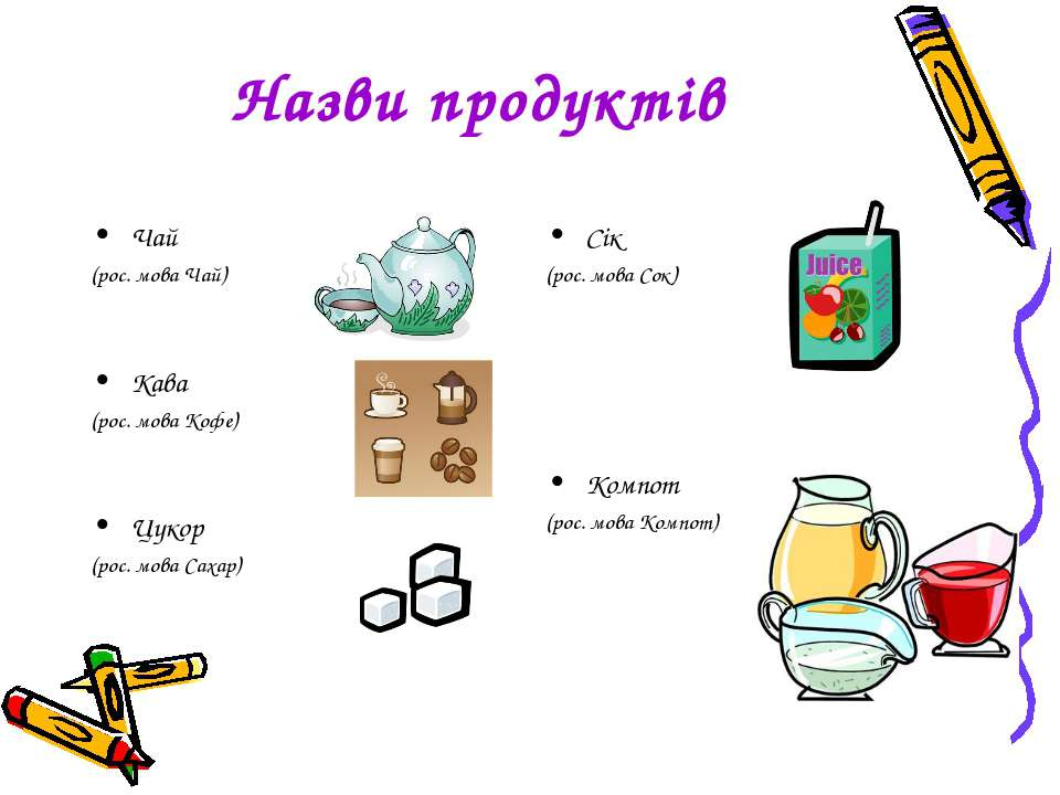Назви продуктів Чай (рос. мова Чай) Кава (рос. мова Кофе) Цукор (рос. мова Са...