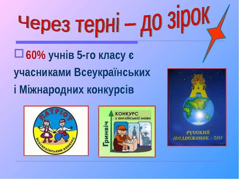 60% учнів 5-го класу є учасниками Всеукраїнських і Міжнародних конкурсів