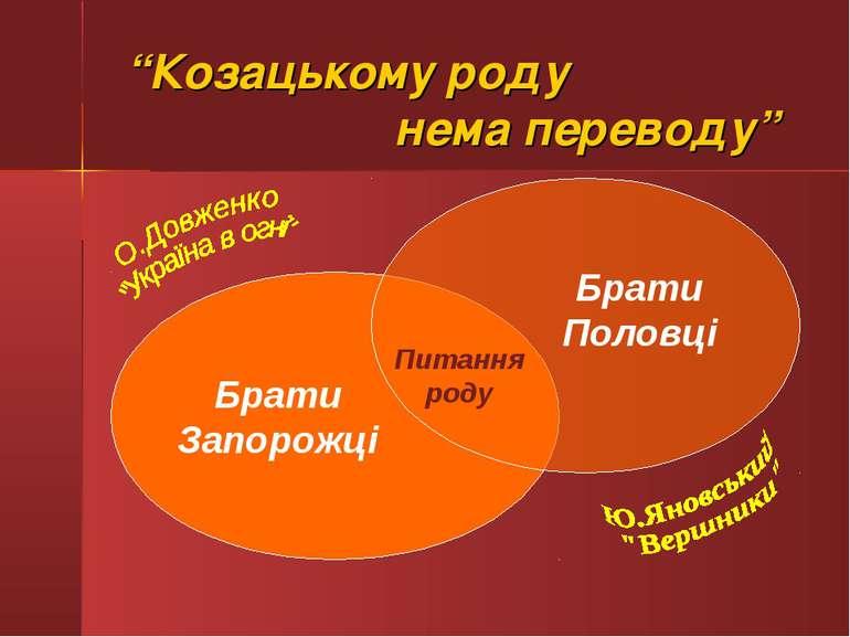 """""""Козацькому роду нема переводу"""" Брати Запорожці Брати Половці Питання роду"""