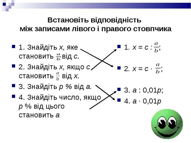 Встановіть відповідність між записами лівого і правого стовпчика 1. Знайдіть ...