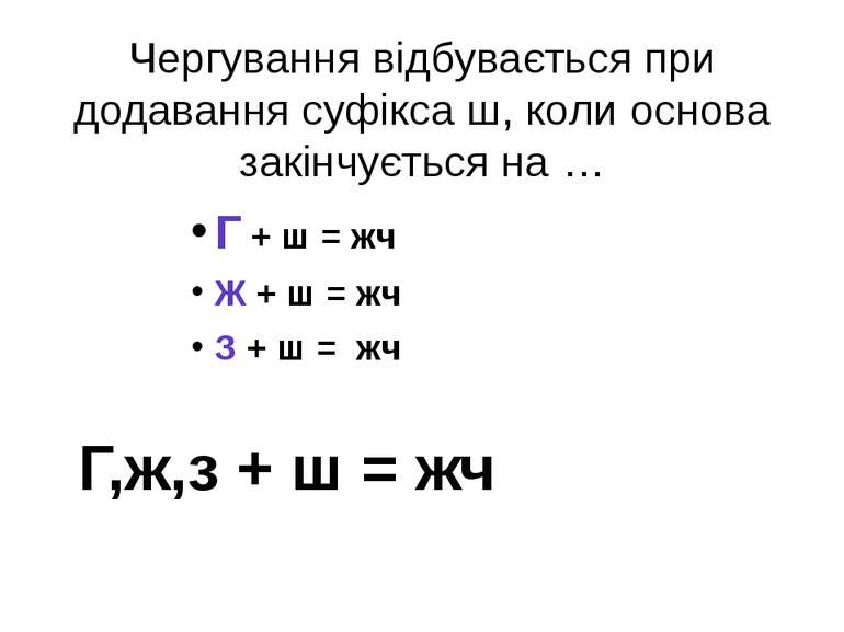 Чергування відбувається при додавання суфікса ш, коли основа закінчується на ...