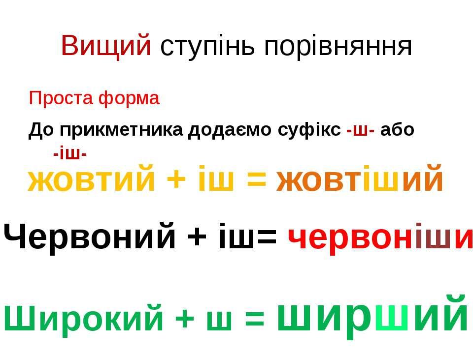 Вищий ступінь порівняння Проста форма До прикметника додаємо суфікс -ш- або -...