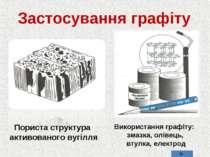 Застосування графіту Пориста структура активованого вугілля Використання граф...