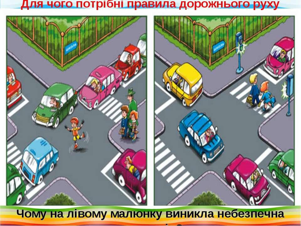 Чому на лівому малюнку виникла небезпечна ситуація? Для чого потрібні правила...