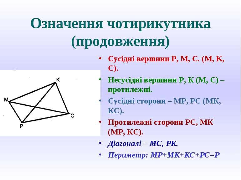 Означення чотирикутника (продовження) Сусідні вершини P, M, C. (M, K, C). Нес...
