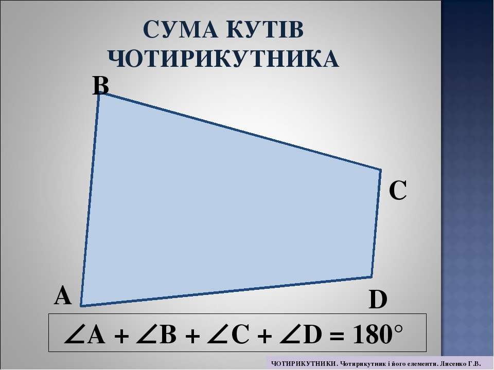 A + B + C + D = 180° A B C D СУМА КУТІВ ЧОТИРИКУТНИКА ЧОТИРИКУТНИКИ. Чотирику...