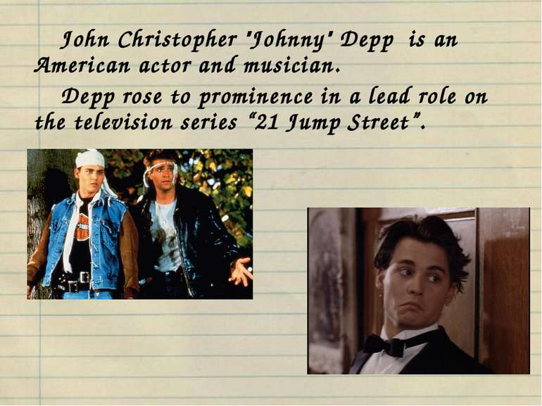 "John Christopher ""Johnny"" Depp is an American actor and musician. Depp rose t..."