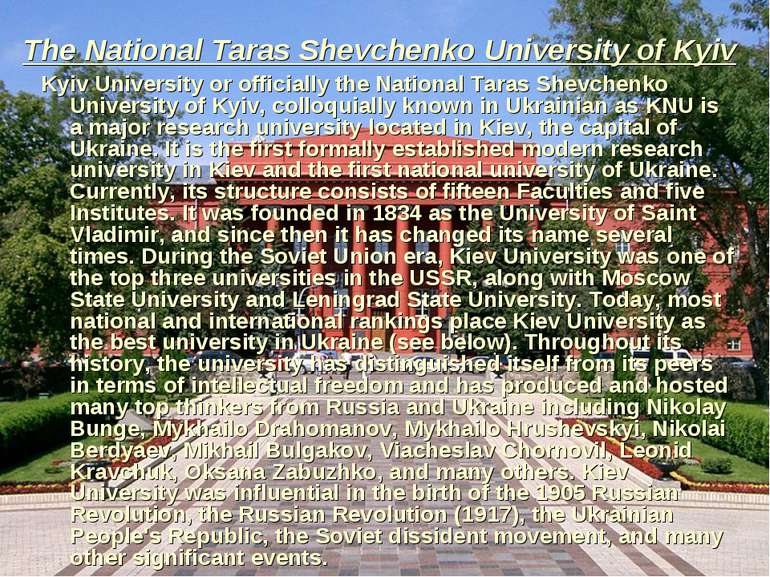 The National Taras Shevchenko University of Kyiv Kyiv University or officiall...