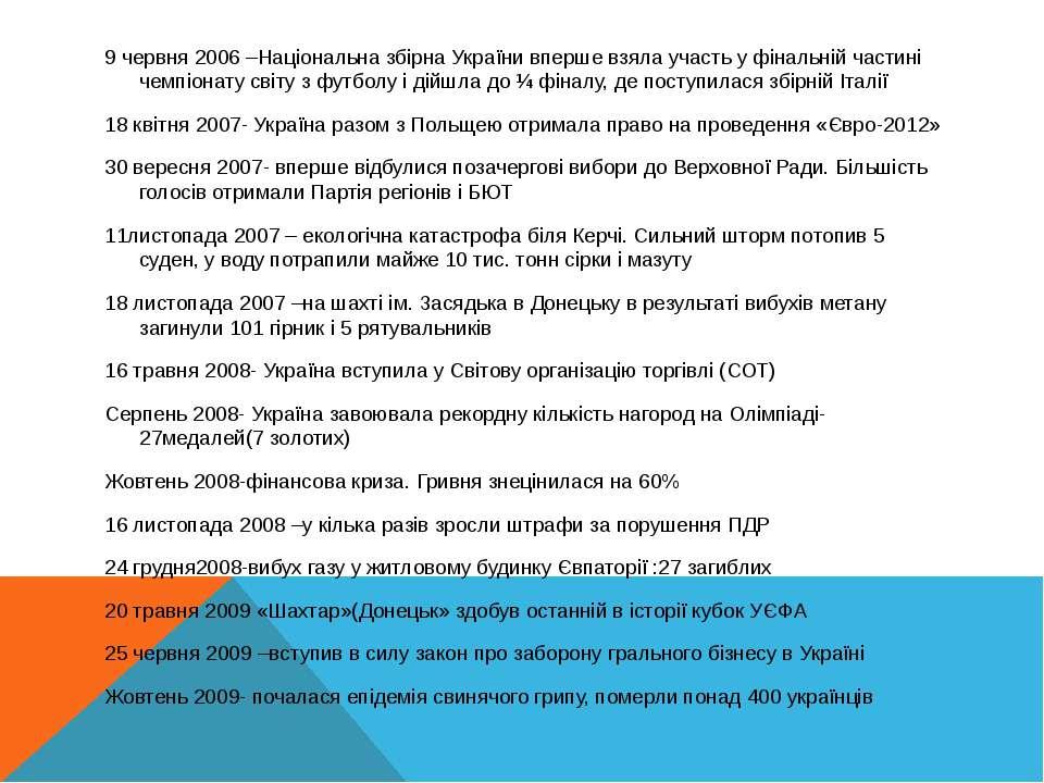 9 червня 2006 –Національна збірна України вперше взяла участь у фінальній час...