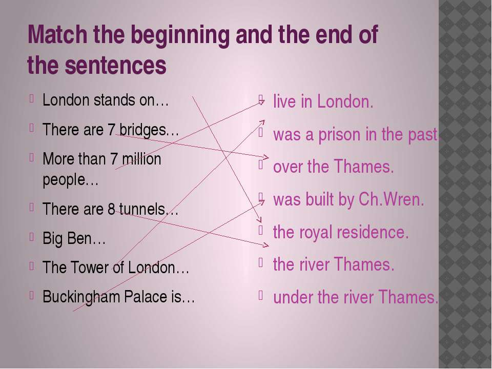 Match the beginning and the end of the sentences London stands on… There are ...