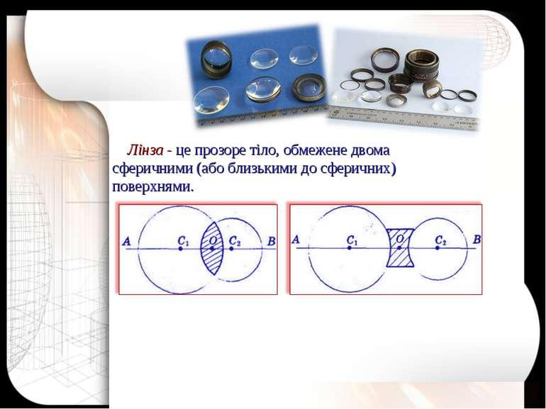 Лінза - це прозоре тіло, обмежене двома сферичними (або близькими до сферични...