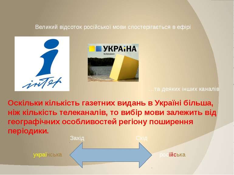 Великий відсоток російської мови спостерігається в ефірі …та деяких інших кан...