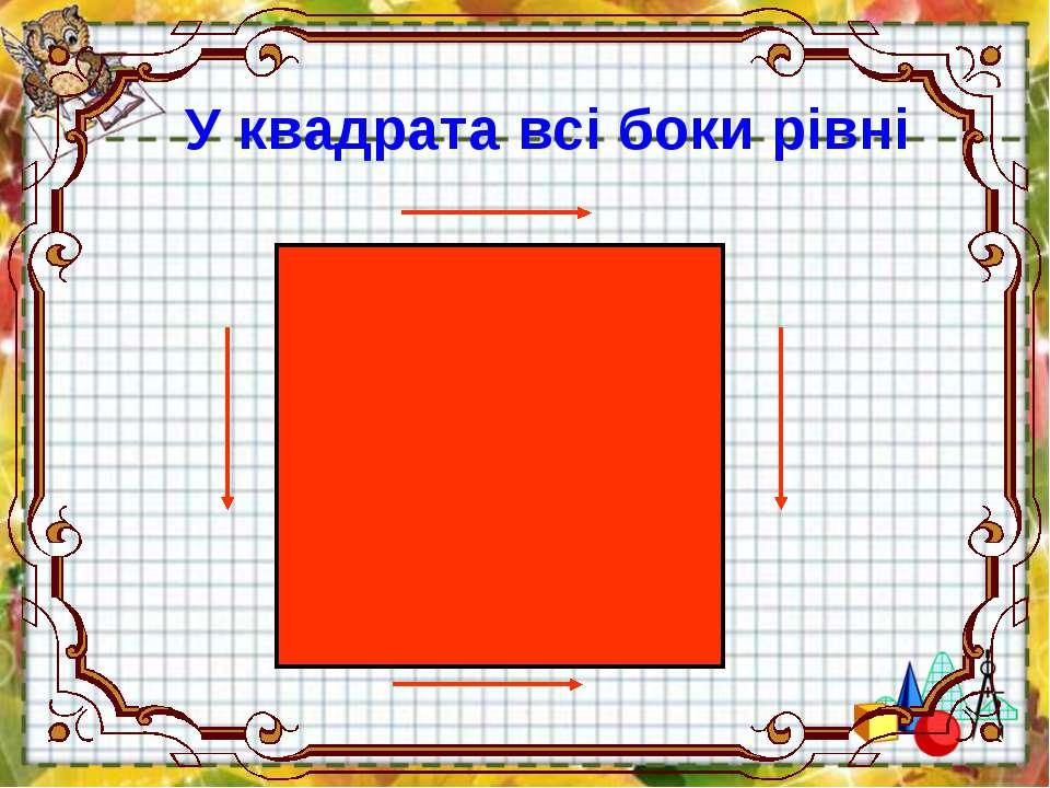 У квадрата всі боки рівні