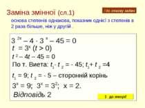 Заміна змінної (сл.1) основа степенів однакова, показник однієї з степенів в ...