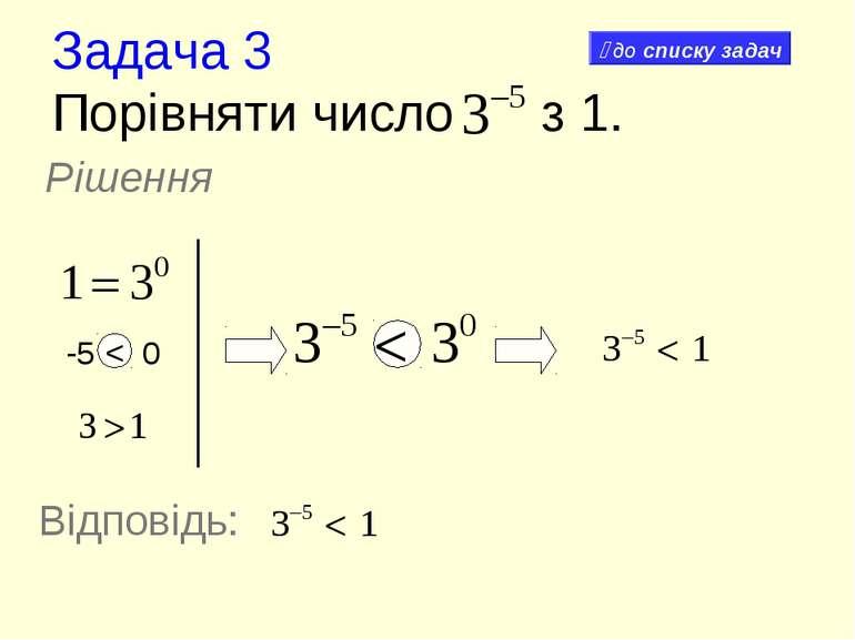 Задача 3 Порівняти число з 1. Рішення -5 < 0 Відповідь: до списку задач