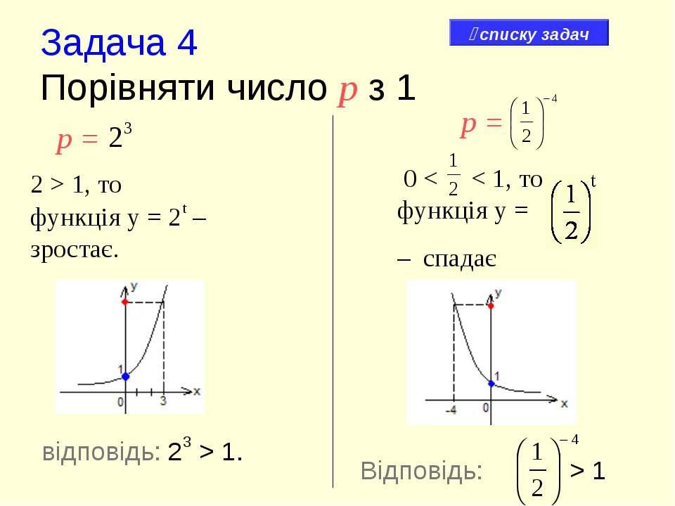 Задача 4 Порівняти число р з 1 р = 2 > 1, то функція у = 2t – зростає. 0 < < ...