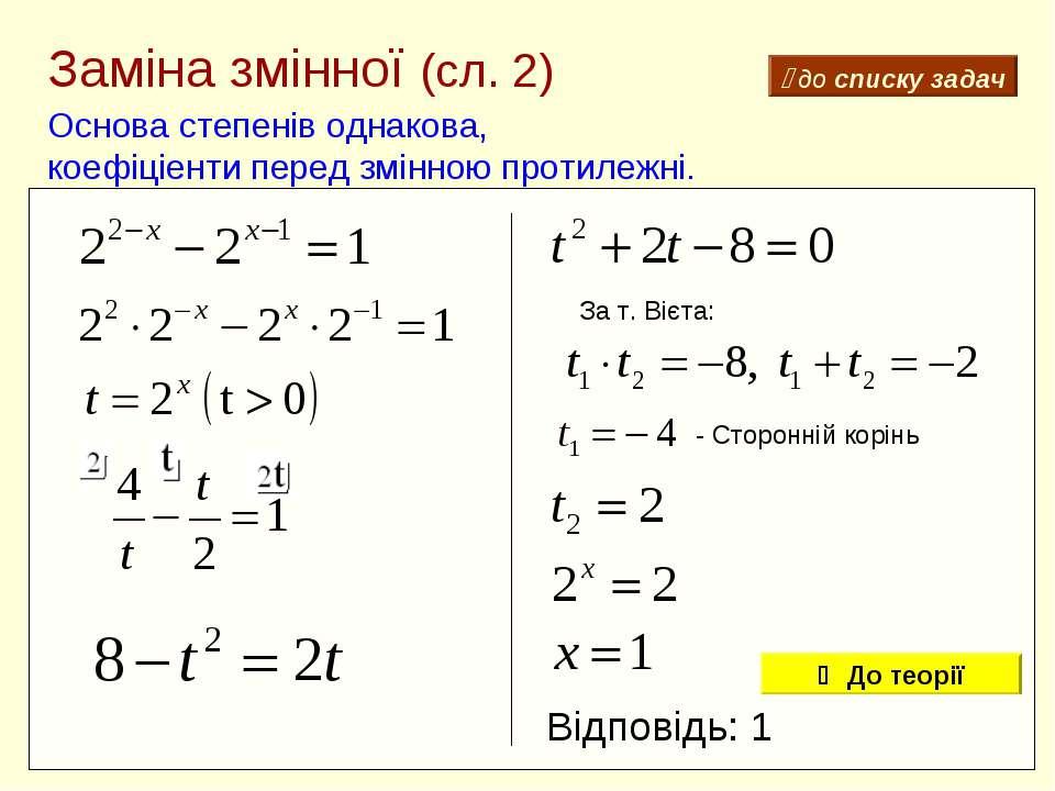 Заміна змінної (сл. 2) Основа степенів однакова, коефіціенти перед змінною пр...