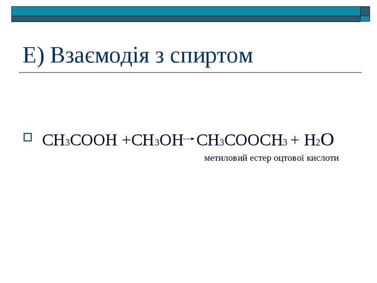 Е) Взаємодія з спиртом СН3СООН +СН3ОН СН3СООСН3 + Н2О метиловий естер оцтової...