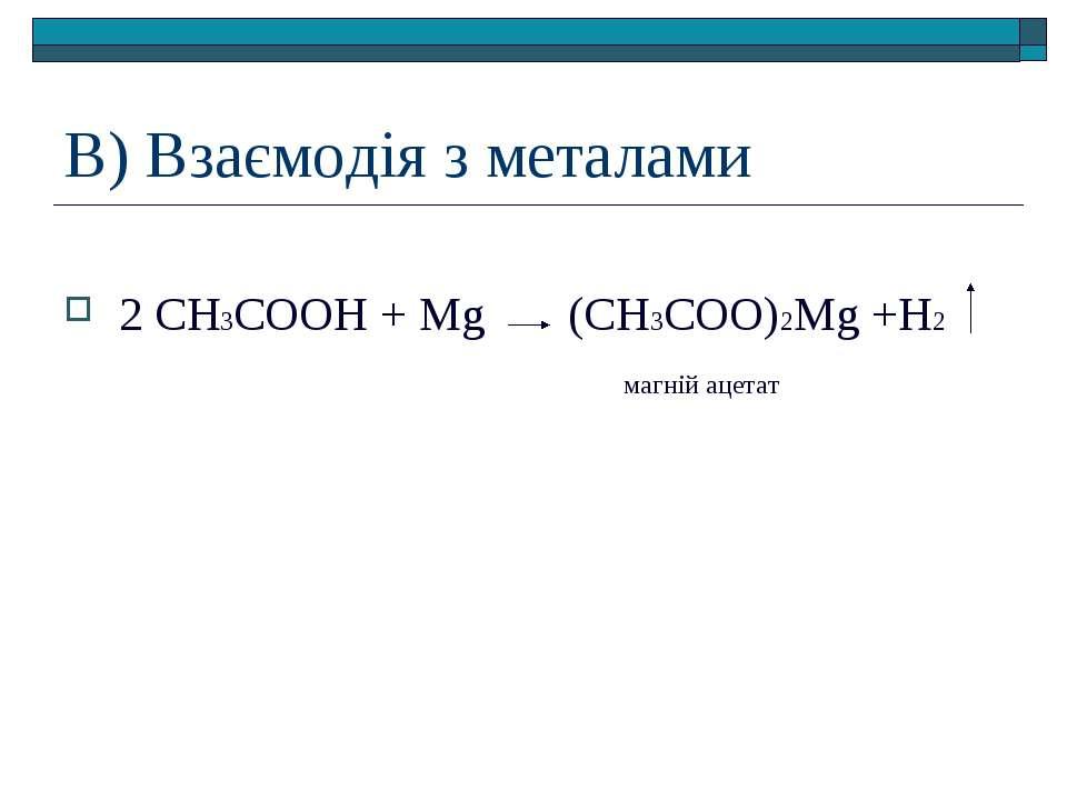 В) Взаємодія з металами 2 СН3СООН + Mg (СН3СОО)2Mg +Н2 магній ацетат