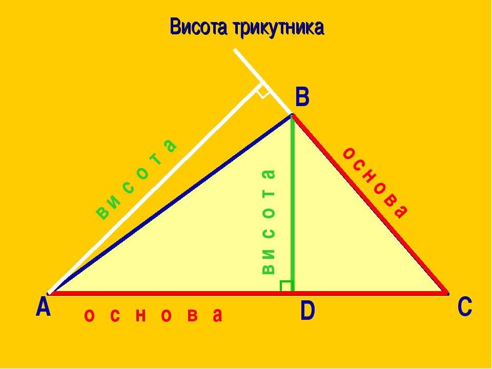 Висота трикутника А В С D о с н о в а в и с о т а о с н о в а в и с о т а